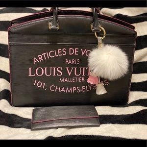 Louis Vuitton Epi Riviera Black w Pink + Wallet